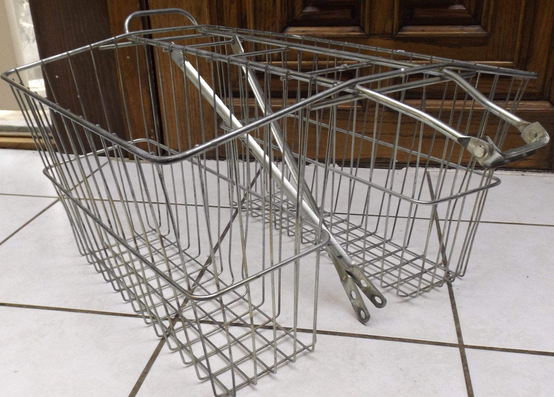 vintage metal double bike basket with tire supports old school. Black Bedroom Furniture Sets. Home Design Ideas