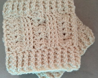 Boot Cuffs - hand crocheted Irish Sea Salt design