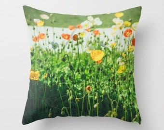 Outdoor or Indoor Pillow Cover / Poppy Flowers Pillow Cover