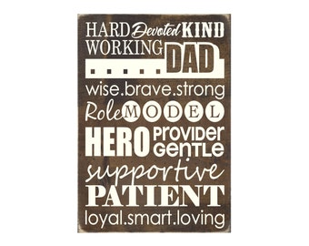 All About Dad Subway Art Rustic Wood Sign Gift for Dad Father's Day (#1476)