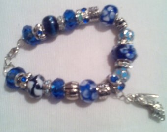 Blue Sterling Silver Chain Bracelets with Charms