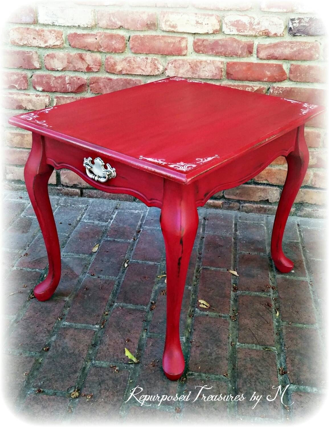Shabby chic end table distressed red side table french for Red side table