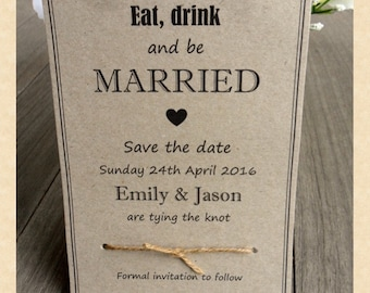 25 Rustic Kraft Save The Date Cards - 'Tying the Knot'