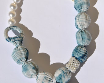 Statement necklace textile pearls blue graduations shantung silk spiral ring closure