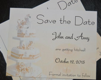 Save the Date Wedding Cake Magnets
