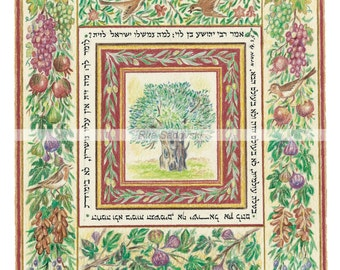 Judaica,Art,Olive Tree,Print