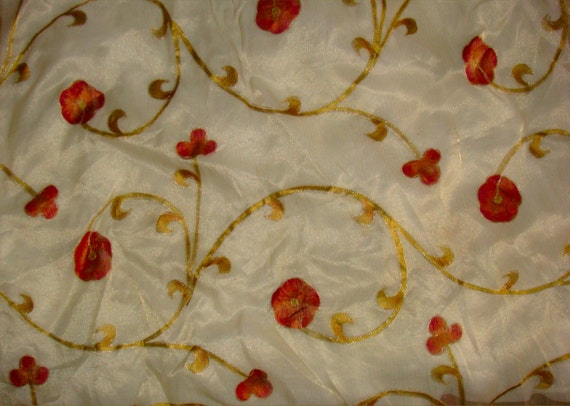 Silk zari printed floral design with chain stitch ivory