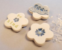 Flower Clay Magnets, Set of Three, Cream, Spring Green, Blue
