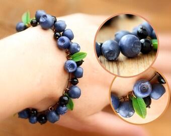 Handmade blueberry bracelet. Handmade jewelry. Agate, coral beads. Polymer clay. Berry. Summer bracelet.