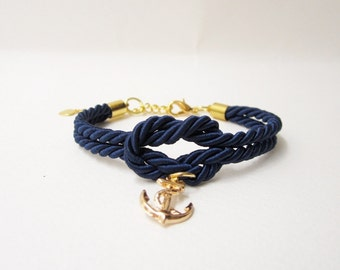 beach wedding gift,bridesmaid gift, anchor wedding, nautical bracelet in navy,bridal shower gift, wedding favors,tie the knot bracelet