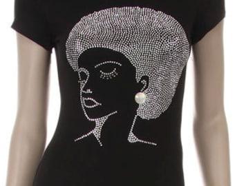 Silver Afro Girl w/ Earing Shirt