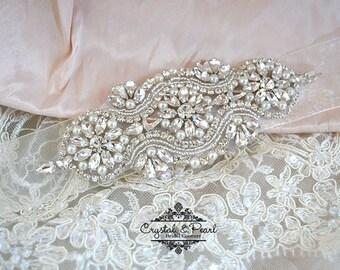 Milan Bridal Sash - Bridal Belt, Wedding Sash, Wedding Dress Belt, Beaded Sash, Jewelled Sash, Vintage Wedding Dress Belt
