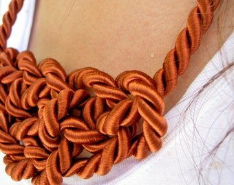 Rust Orange Rope Cord Knot Necklace