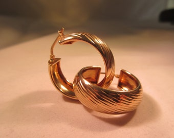 Sterling Silver Gold Wash Hoop Earrings - Signed