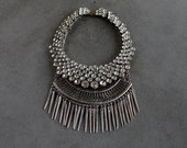 Statement Necklace - Handcrafted: Aalon. Silver and bronze crystal layered stacked rhinestone ethnic bohemian necklace