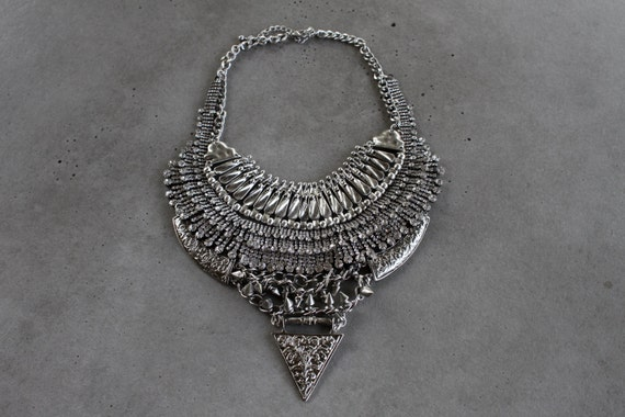 Statement Necklace - Handcrafted: Harper. Handcrafted Silver crystal layered & stacked rhinestone ethnic bohemian necklace