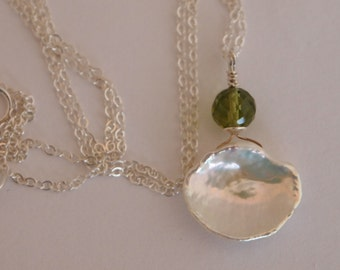 Sterling Silver Chain Necklace with Keishi Pearl and Peridot