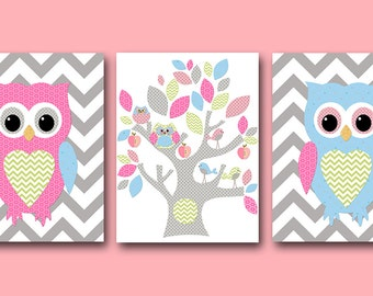 Owl Decor Owl Instant Download Art Playroom Art Printable Art Digital Download Owl Nursery Baby Girl Nursery Art set of 3 8x10 11X14