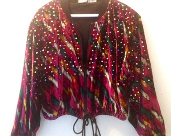 1980's Velvet Vintage Jacket/ Medium