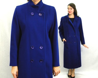 80s Royal Blue Wool Coat Long Winter Coat | Forecaster of Boston |  Medium