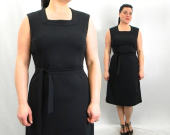 60s Black Wool Dress | Sleeveless Shift Dress | Large