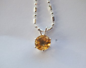 Yellow Citrine Sterling Silver Necklace