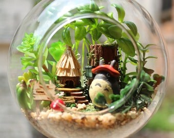DIY Glass Ball Dollhouse Miniature Totoro Dollhouse Kit Handcraft Kit Gifts Kids Women Toy Assembly Dollhouse Model Kit DIY Gift Valentine