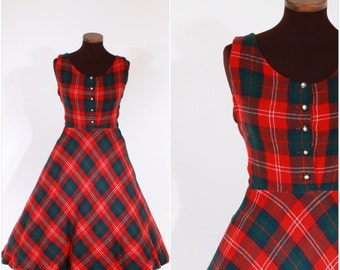 Vintage 1950s Red and Green Plaid Wool Dress S