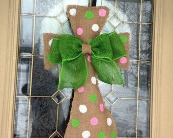 Burlap Cross Door Hanger- Available in other colors. Easter Wreath