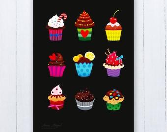Cupcakes Poster | Cupcakes Nursery Art | Cupcakes