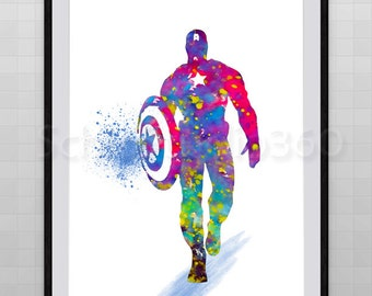 Captain American Watercolor Art Print - Avengers Poster- Marvel -Archival Fine Art Print Children's Wall Art Wall Hanging Birthday Gift