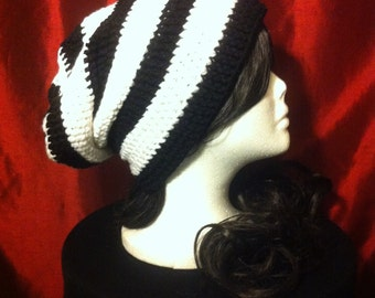 Black/White Striped Slouchy BeetleJuice Beanie Hipster/ Adult /child/teen/Beanie/Hat/Super slouchy beanie/crochet/knit hat/Hipster