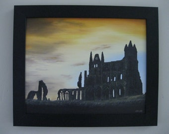 This is a wonderful original oil painting of Whitby Abbey, in Yorkshire England.