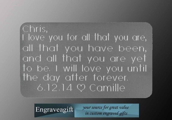 Wedding Gift Engraved Message : , Wedding Gift, Engraved Wallet Card, Custom Engraved, Personalized ...