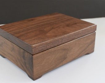 Keepsake Box - Custom Engraved Wood Box - Walnut Keepsake Box - First Communion -Personalized Wooden Box -  Engraved Valet Box