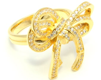Yellow Gold Sterling Silver Bow Ring Free Shipping ! Free Gift Bag !