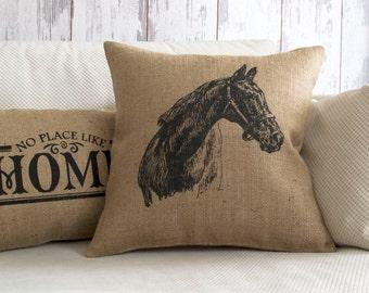 horse pillow, horse, horse decor, burlap pillow cover, equestrian, pillow cover, horse pillow cover, horse home decor, equestrian pillow