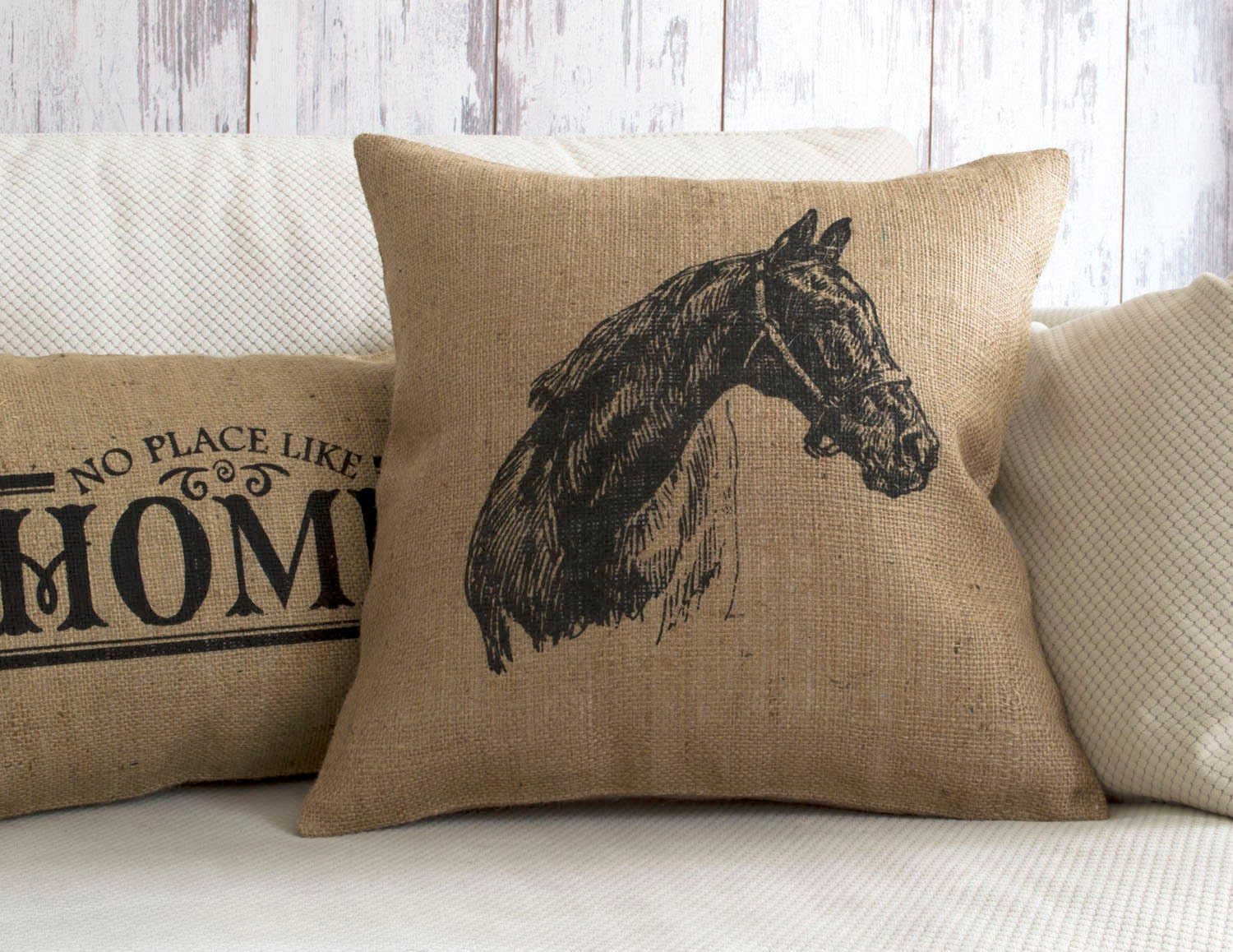 Horse pillow horse horse decor burlap pillow cover for Decor pillows