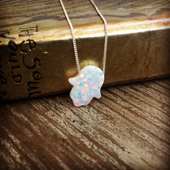 New 925 sterling silver necklace with Opal hamsa pendant