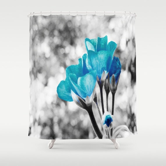 Shower Curtain, Turquoise Flowers Curtain, Black & White Pop of Color ...
