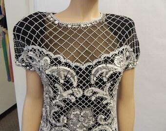 1980's beaded dress / black and white