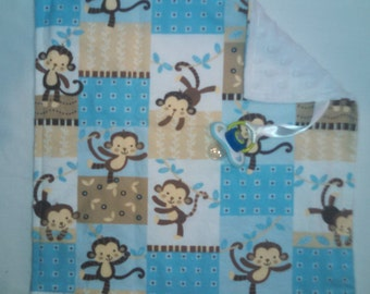 SALE!!! Monkey Binky Blanket