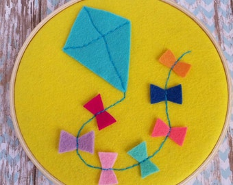 Embroidery hoop art | kite design | felt hoop art | kids decor | nursery art