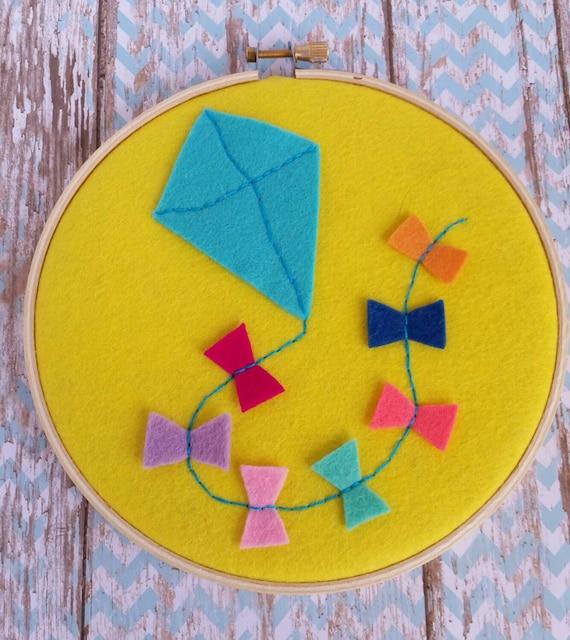 Embroidery hoop art kite design felt kids decor
