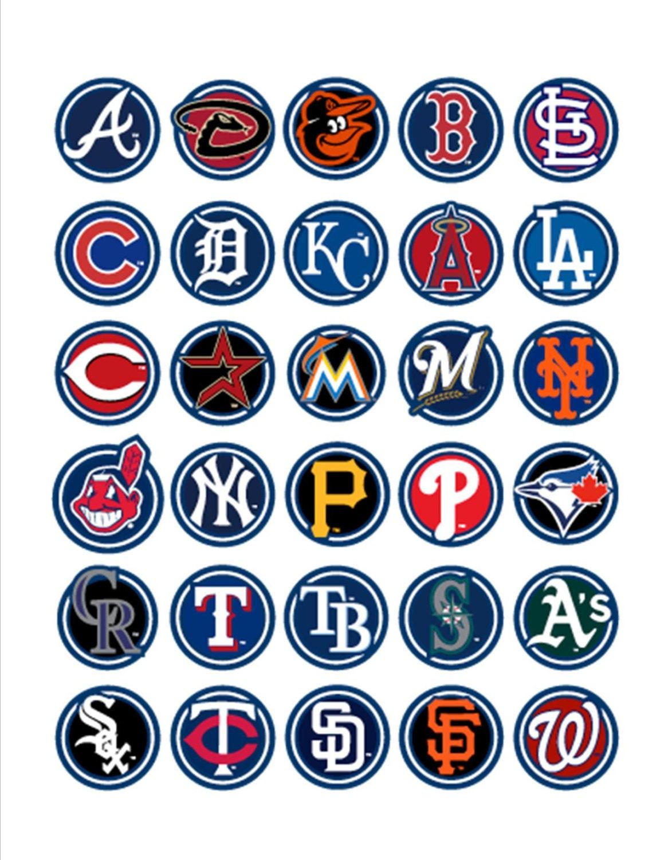 mlb baseball hat logos 30 pre cut 1 glossy by