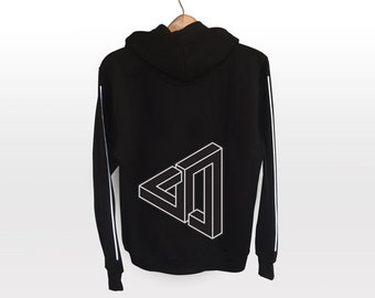 Optical Illusion Hoodie - light reflective silver print | Geometrical Pattern