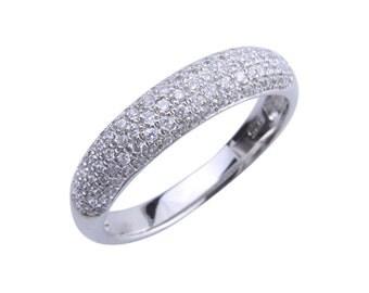 pave cz eternity band diamond look pave cz band pave cz sterling silver ring