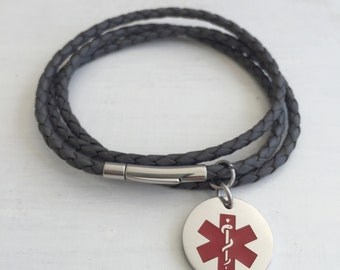 Medical Alert Bracelet Personalized - Women's Medical Alert Bracelet - Medical Alert Charm - FREE ENGRAVING