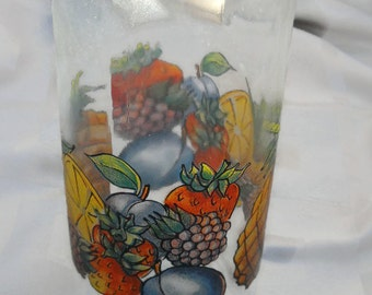 Glass Decorativ Swing  Top  Bottle Fruit Design Marked AVIR Made  in  Italy
