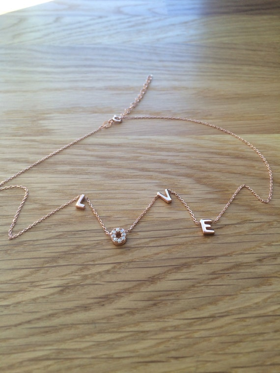 love necklace, rose gold plated sterling silver and cubic zirconia ON CLEARANCE NOW